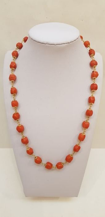 Necklace made of Sardinia coral 18 kt gold
