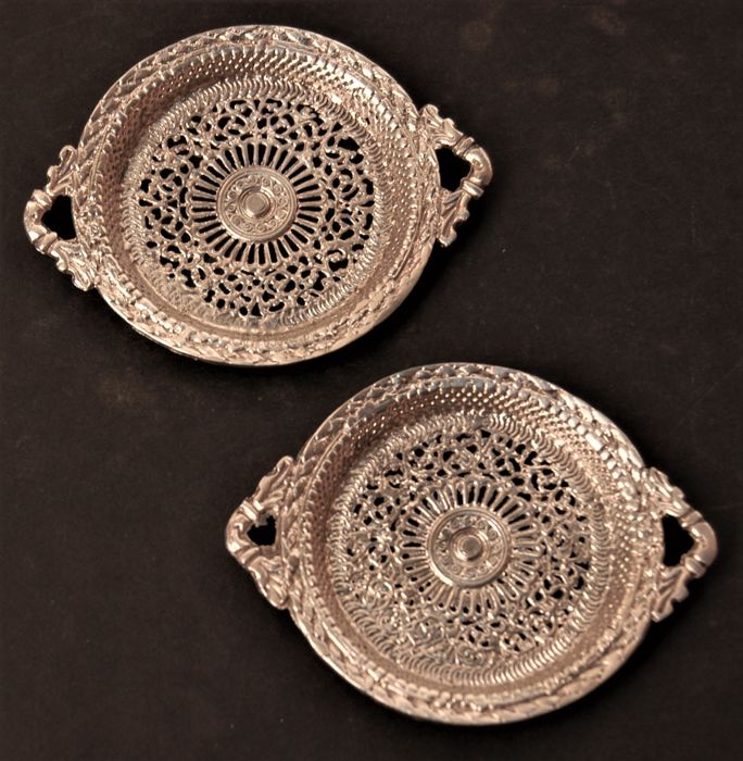 Antique Pair of Silver Plated Pair Wine/Bottle Coasters, European, ca. 1920