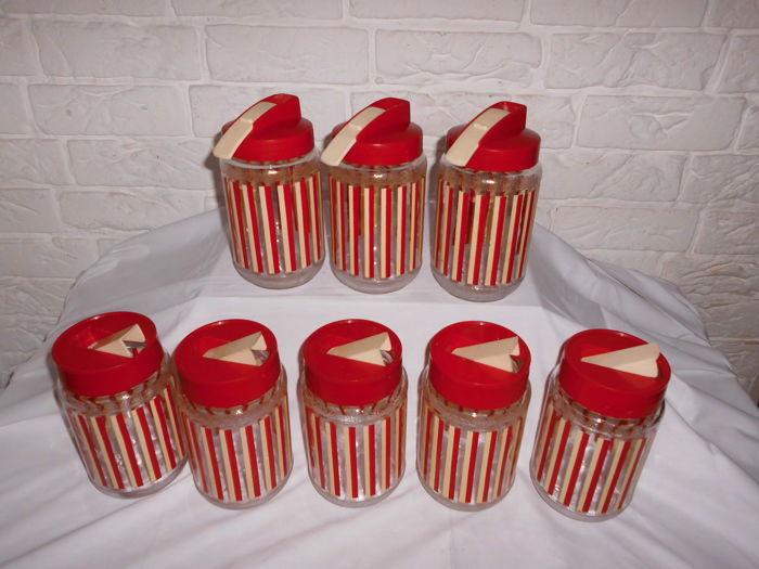 Collection of 8 vintage glass storage containers from 1959 in