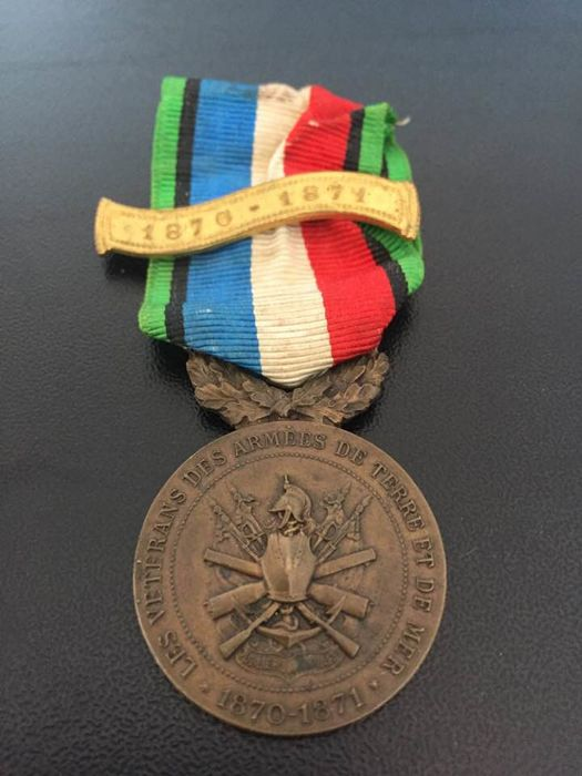 French medal of honour for Veterans of the war of 1870-1871 with gilded barrette