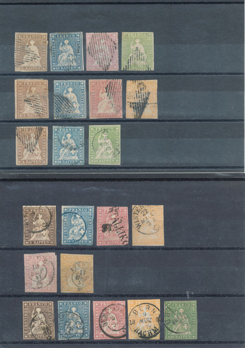 Switzerland 1854 - Small collection Strubels - SBK