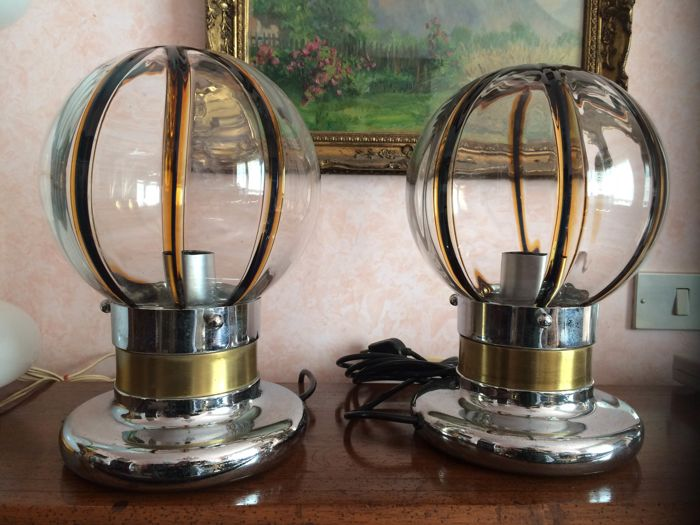 Mazzega (attrib.) Pair of vintage table lamps ( 30 cm)