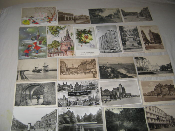 vintage postcards virtually all from the Netherlands 1910 / 1935 and dutch cities and villages