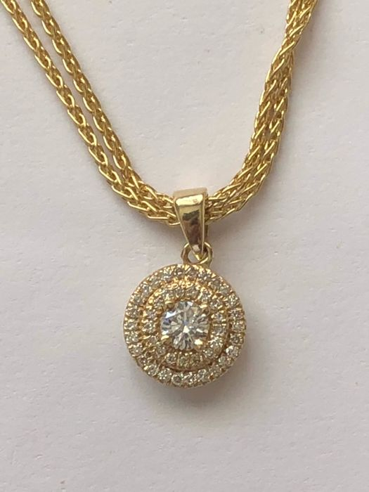 18K Yellow Gold Chain Necklace set 10.76 gr. with 18K Yellow Gold 0.51 ct. Diamond Pendant