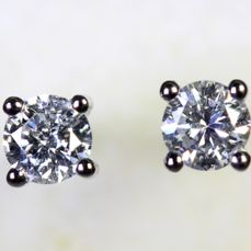 No Reserve Price - 18 kt White Gold Earrings  0.34 ct Diamonds in total - D, VS