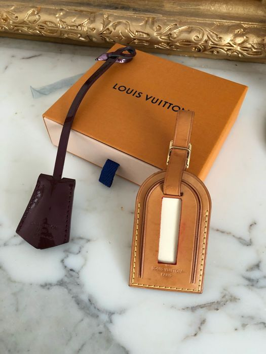Louis Vuitton adres label vachetta name tag origineel leer