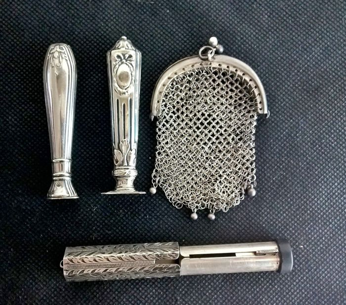 Four antique silver items, marked 800 and 835 Italy, late 19th-early 20th century