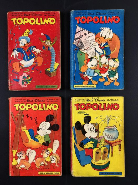 Topolino Libretto nn. 157, 163, 164, 166 - con bollino - Trade Paperback - First edition - (1957)
