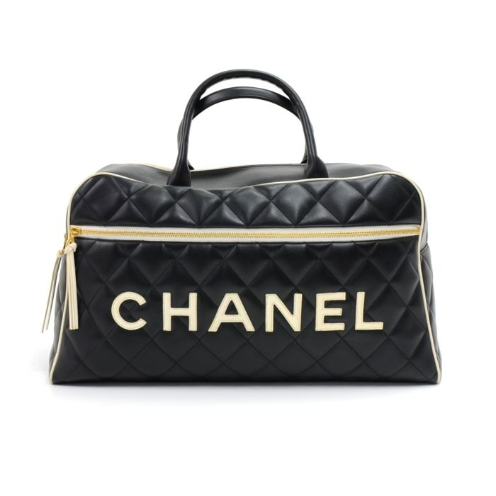 Chanel - Sports Line Black Calfskin Diamond Quilted Leather Boston Sac à  main - Vintage b35df286b37