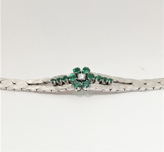 Semi-rigid bracelet in 18 kt white gold - emeralds - diamonds - 100% handmade in Italy - new