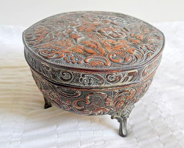 Copper lidded box with angels, early 20th century, France