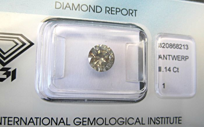 1.14 ct  Brilliant Cut diamond Grey Yellow- I1 -IGI-June 2018