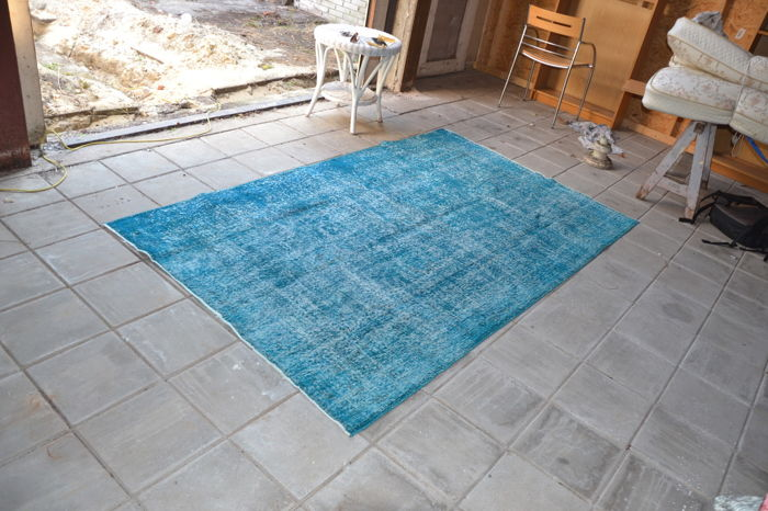 Re-coloured over-dyed vintage rug, 146 x 248 cm