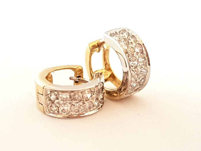 Earrings - Hoops - Two-coloured - 18kt yellow and white gold - 0.15ct diamonds - Diameter 1cm x 0.45cm