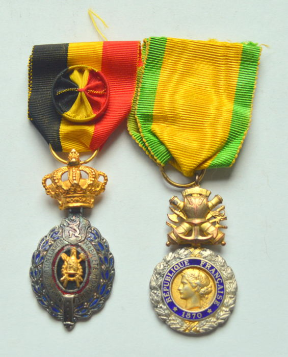 Belgium, France - Beautiful Enameled Medals 1870 (2 medals)