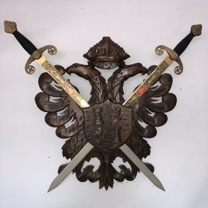 Large Woodcarved Family Coat Of Arms Double Headed Eagle With Crown And Shield