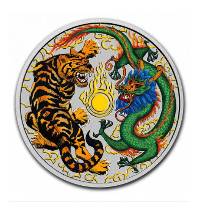 Australia 1 Dollar 2018 Tiger Dragon 1 Oz Colour Edition