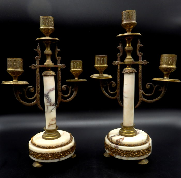 Pair of marble and brass Empire Style candle holders, France ca 1930's