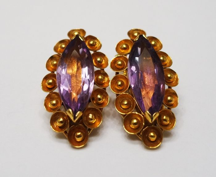 14CT Yellow Gold Marquise Amethyst Clip-On Earrings , Earrings For Women Without Pierced Ears