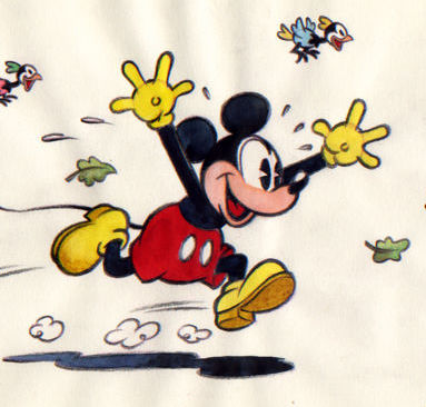 Vives Mateu, Xavier - Original Sketch - Mickey runs happily with birds - (2016)