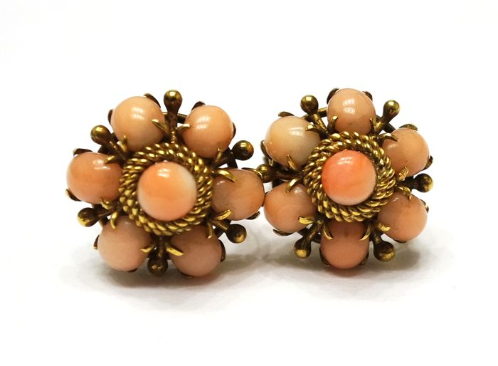 14ct yellow gold coral earrings clip on earrings flower earrings 14ct yellow gold coral earrings clip on earrings flower earrings elegant earrings mightylinksfo