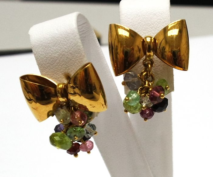 18CT Yellow Gold Earrings with Green Tourmaline and Pink Tourmaline
