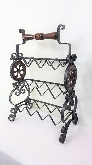 Vintage Wine Rack Made Of Metal And Wood 20th Century Catawiki