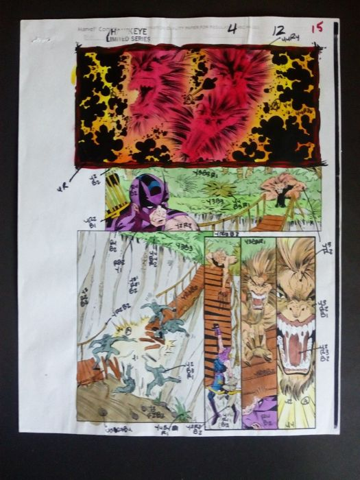 hawkeye 4 - Original hand coloured / inked page with corection - Other - (2004)