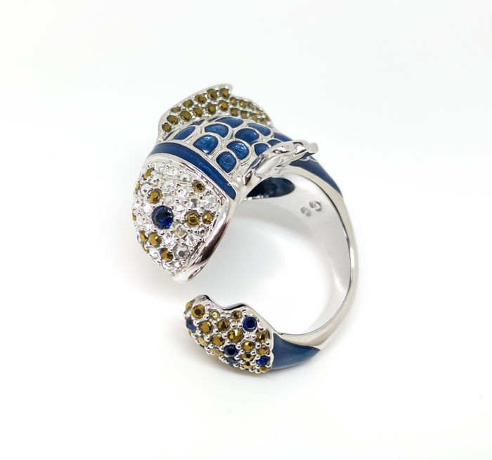 "Swarovski - crystal fish wraparound ring ""Lazy"""
