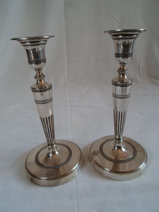 Pair of silver candlesticks, Louis XVI style