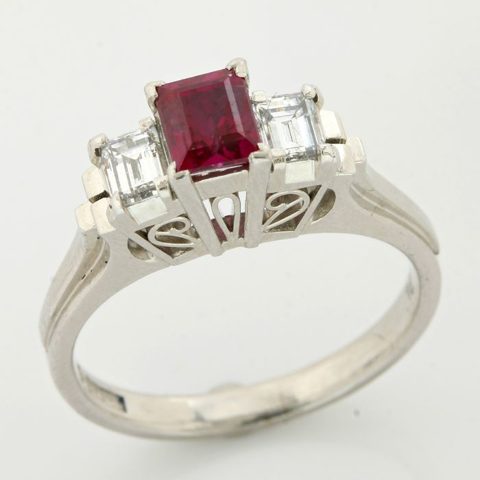 Platinum(900) 0.41ct Emerald Cut Diamond and 0.72ct Emerald Cut Ruby Ring; Size: 6