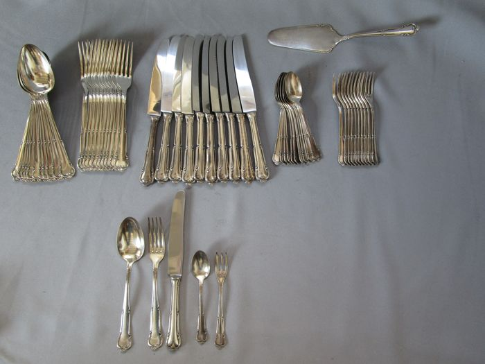 BG - Gürtler cutlery factory Düddeldorf Germany - manufacturer brand - cutlery (58 pieces) - 90s silver-plating - heavy gauge approximately 3,250 kg - as new