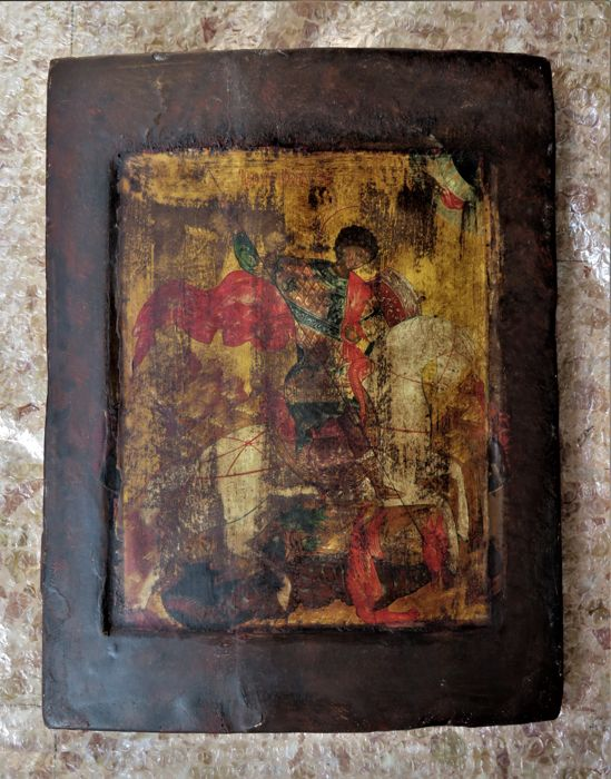 St. George and the Dragon - Old wooden panel with sacred illustration - 19th century