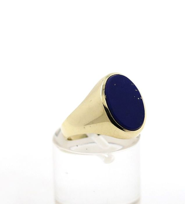 14 kt yellow gold men's ring with 2.00 ct lapis lazuli - ring size: 51 EU - free size adjustment