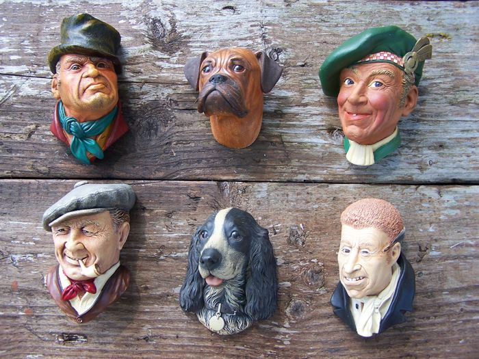 Six beautiful vintage © Bossons heads - © signed with stamp