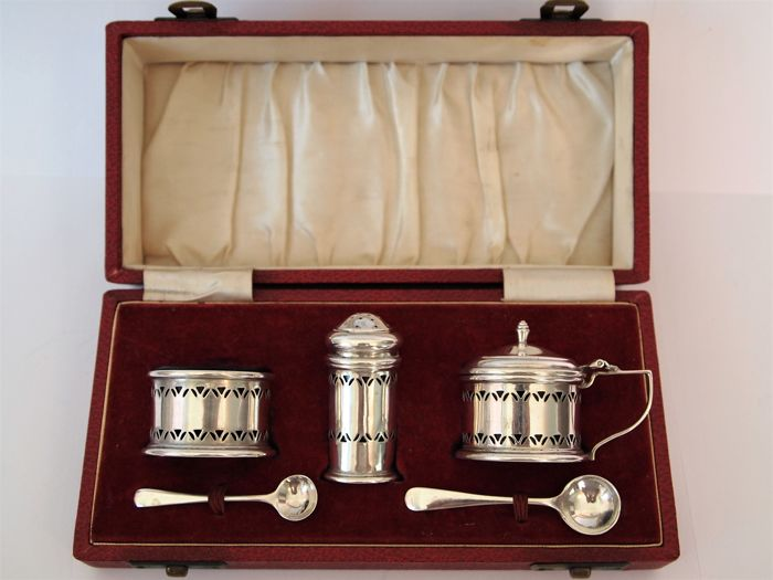 Art Deco Sterling Silver Cruet Set housed in a Cassette with red silk and velvet lining  - Deakin and Francis - Birmingham - 1958