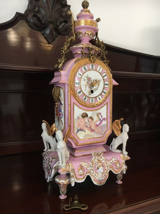 Sevres porcelain and gilt bronze table clock
