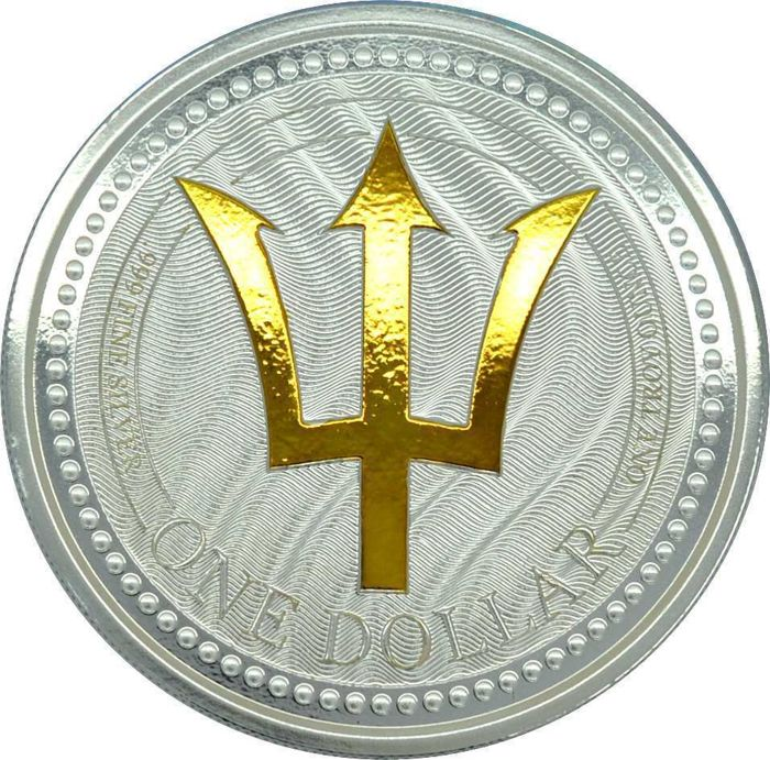 Barbados - 1 Dollar 2017 - Trident mit Goldapplikation - 1 Oz - Silver