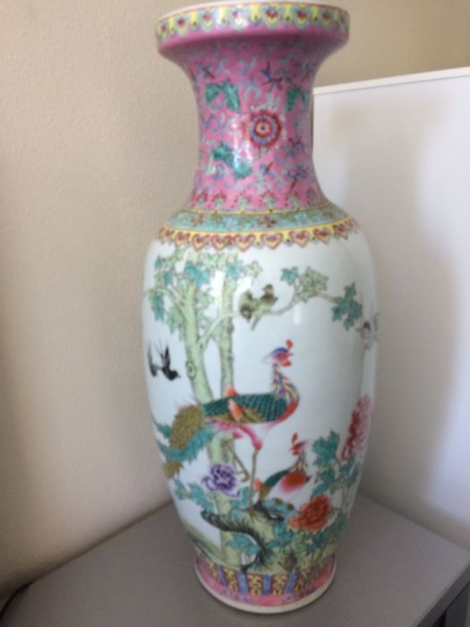 Very Large Chinese Famille Rose Baluster Vase 62 Cm China Ca