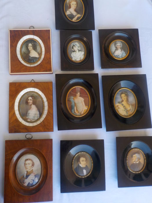 Collection of 10 miniature paintings on ivory - portraits - England, France and Germany - ca. 1860-1920