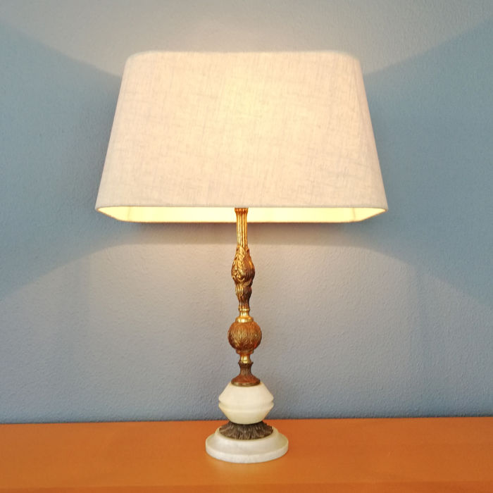 Vintage - Opaque White Onyx Stone with Yellow Copper Floral Leaf Motif Table Lamp -  Belgium - 1970s