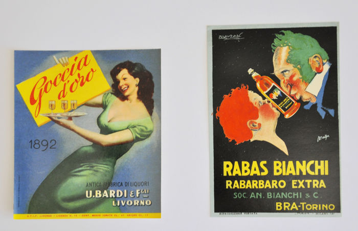 Gino Boccasile and Achille Mauzan - 2x advertising labels Bardi and Bianchi - 1920s ans 1940s