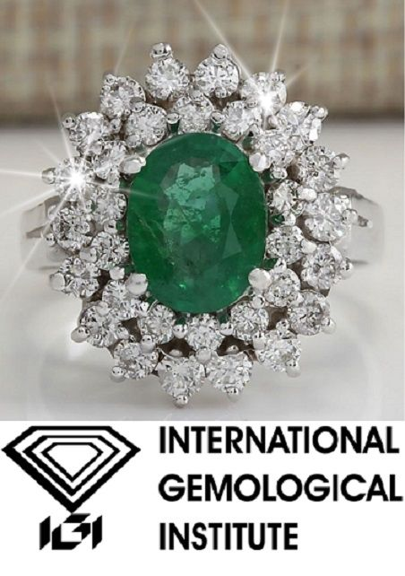 Gold ring with emerald and diamonds, IGI certificate
