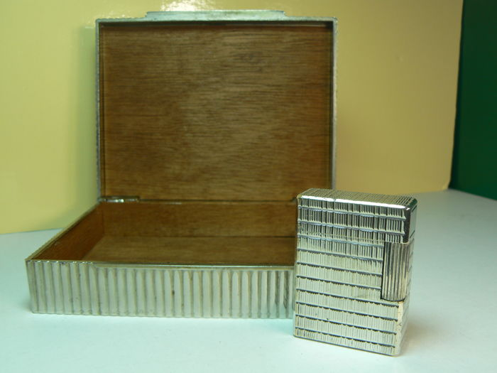 Silver-plated Dupont pocket lighter and metal cigar box