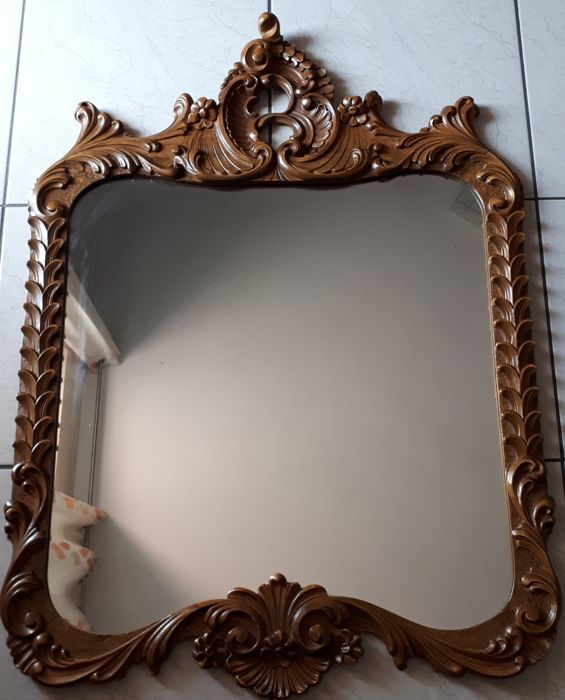 Vintage carved walnut wall mirror - 1950s