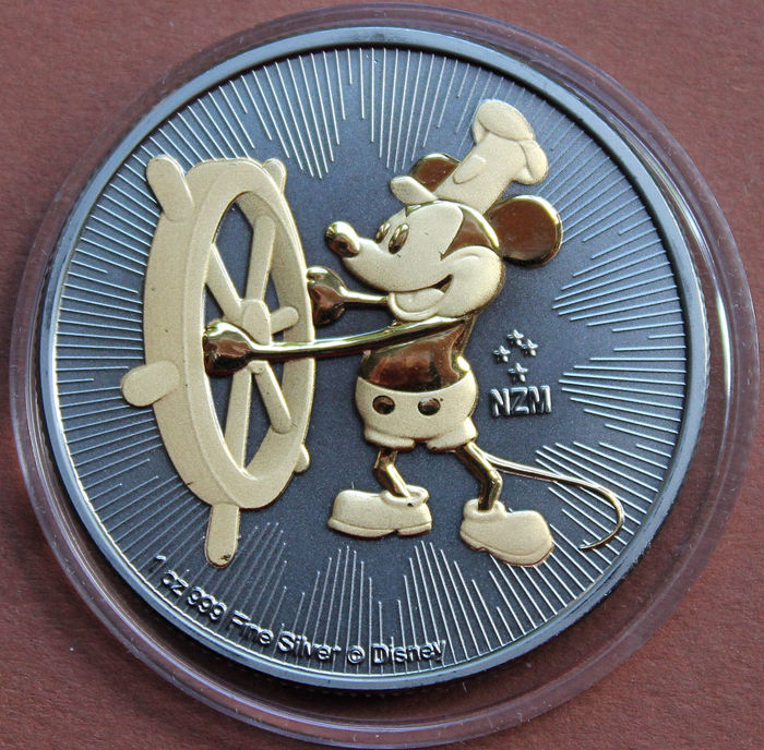 Niue - 2 Dollar 2017 Mickey Mouse Steamboat Willie w. Ruthenium - 1 Oz - Silver