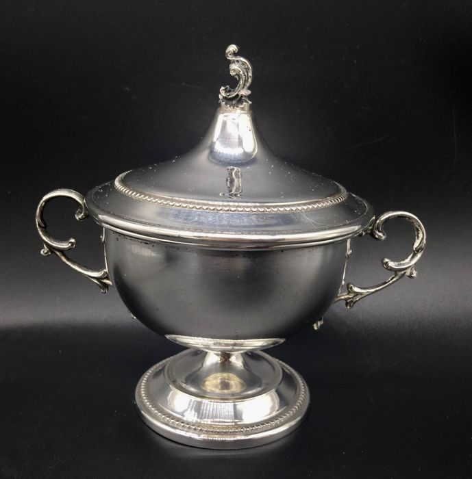 Sugar Bowl in sterling silver 800 - Italy, 20th century