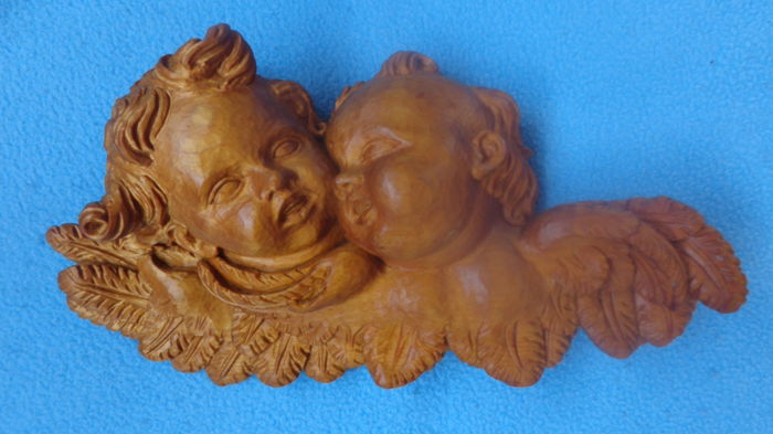 Large wooden figurine - wooden sculpture - wall figurine 2x putto