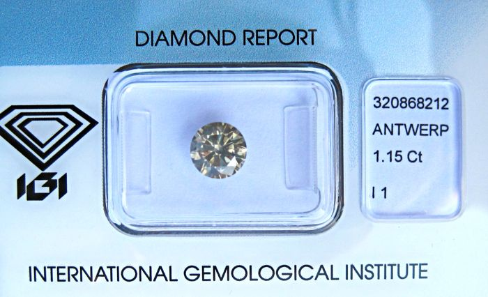 1 pcs Diamant - 1.15 ct - Brilliant - fancy grå gul - I1