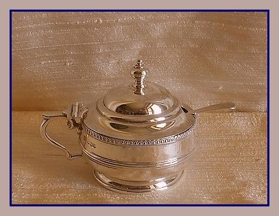 Sterling silver George V mustard pot w/blue glass liner, George Howson, Sheffield, 1932 and spoon, G.E. Walton, Birmingham, 1899